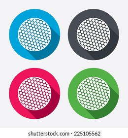 Golf ball sign icon. Sport symbol. Circle buttons with long shadow. 4 icons set. Vector