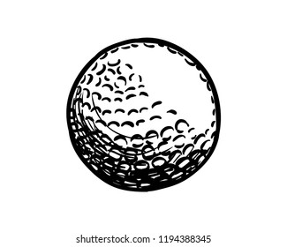 Golf Ball for the Sports Hand Drawn Symbol Logo Vector