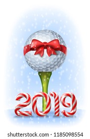 Golf ball tied with a red bow on tee with candy cane numbers of 2019 new year holiday. Vector illustration