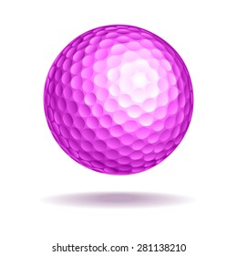 Golf ball vector illustration. Pink ball with shadow