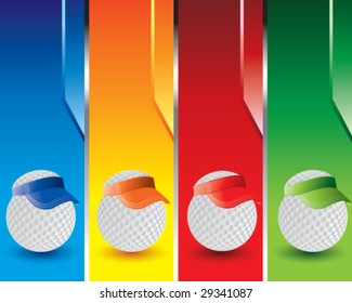 golf ball with visor on colored vertical banners