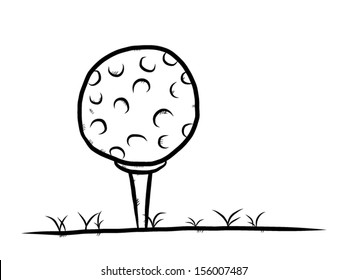 golf boll on grass ground / cartoon vector and illustration, hand drawn, sketch style, isolated on white background.