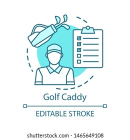 Golf caddy concept icon. Sport coach, trainer idea thin line illustration. Player assistant. Field stadium staff, personnel. Instructor, worker. Vector isolated outline drawing. Editable stroke
