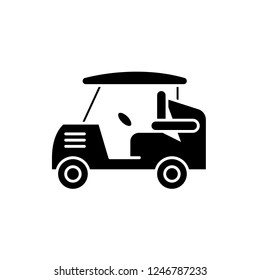 Golf car black icon, vector sign on isolated background. Golf car concept symbol, illustration