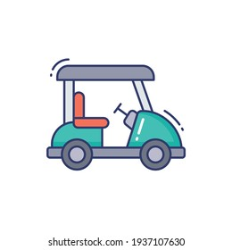 Golf car Line Icon Isolated On White Background