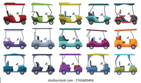 Golf car vector cartoon set icon. Vector illustration auto on white background. Isolated cartoon set icon golf car.