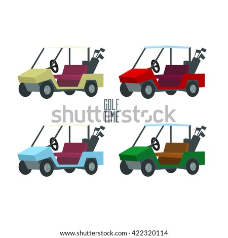 Golf Cart Golf Car Golf Club Stock Vector (Royalty Free) 422320114 Red Golf Cart Art on red shopping cart, red push cart, red golf card,