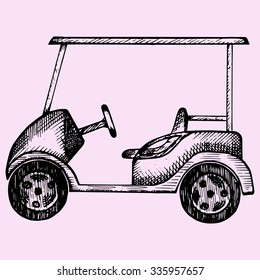 Golf cart, doodle style, sketch illustration, hand drawn, vector