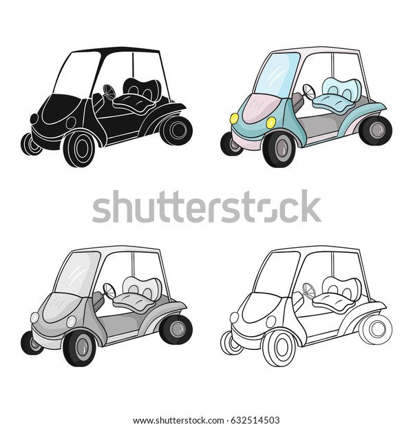 Golf cart icon in cartoon style isolated on white background. Golf club symbol stock vector illustration.