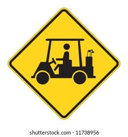Golf Cart traffic sign warning on white