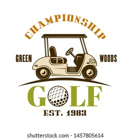Golf cart vector emblem, label, badge or logo. Vintage colored illustration isolated on white background