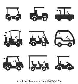golf cart vector icons. Simple illustration set of 9 golf cart elements, editable icons, can be used in logo, UI and web design