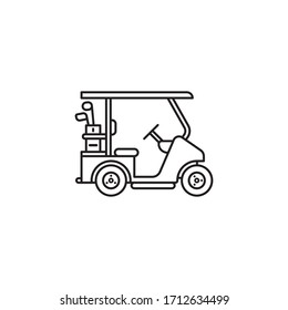 Golf cart vector line icon. Outdoor sports outline symbol.