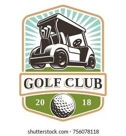 Golf cart vector logo design on white background. Text is on the separate layer.