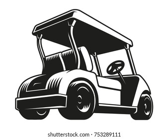 Golf cart vector. Monochrome icon, isolated on white.