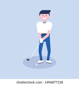 Golf cartoon player in modern flat style. Golf equipment icon. Isolated character playing golf and having a fun. Game moment. Vector Illustration