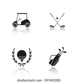 Golf championship drop shadow black icons set. Ball in laurel wreath, crossed clubs, cart and bag. Isolated vector illustrations