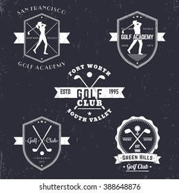 Golf club, academy vintage emblems, logos, golfer, crossed golf clubs and ball, logo, badge, vector illustration