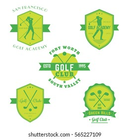 Golf club, academy vintage emblems, logos with golfers, crossed golf clubs and ball, isolated on white, vector illustration