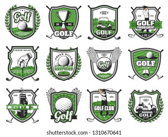 Golf club badges of ball with wing, champion cup and golf cart. Vector golf sport championship heraldic icons of club and player on tee course