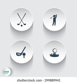 Golf, golf club, ball, golfer round modern icons, vector illustration, eps10, easy to edit
