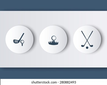 Golf, golf club, ball, round modern icons in grey-blue, vector illustration, eps10, easy to edit