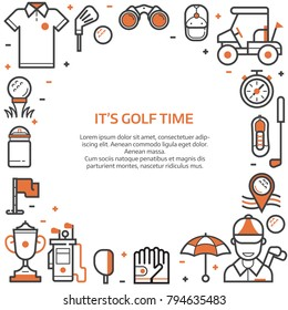 Golf club banner or header template in line art style. Golf icons concept background with ball, golfer, bag, umbrella and other elements and accessories.
