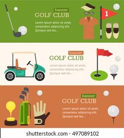 Golf Club Banner Horizontal Set Flat Design Style. Vector illustration of Golf Equipment Sport Game for golf's club banners. Vector illustration of golfing icon set