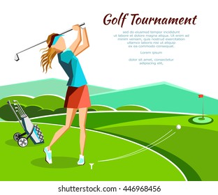 Golf club competition tournament banner. Poster with woman plying golf game in modern flat style with nature and mountains background. Vector illustration