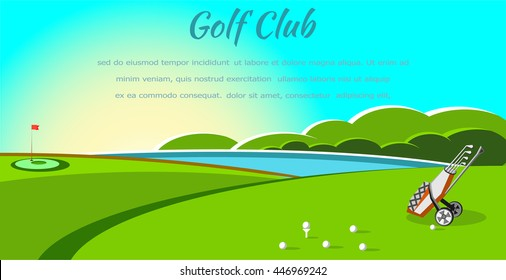 Golf club competition tournament banner. Poster with  golf game in modern flat style with nature and lake background. Vector illustration