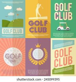 Golf club competition tournament mini poster flat set isolated vector illustration
