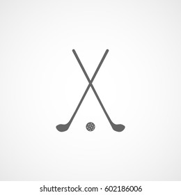 Golf Club Cross And Ball Flat Icon On White Background