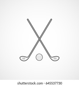 Golf Club Cross And Ball Line Icon On White Background