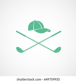 Golf Club Cross And Cap Green Flat Icon On White Background