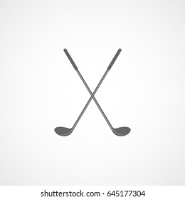 Golf Club Cross Flat Icon On White Background