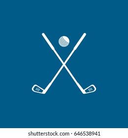 Golf Club Cross Flat Icon On Blue Background