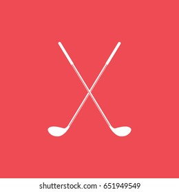 Golf Club Cross Flat Icon On Red Background
