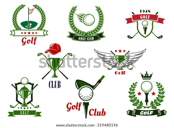 Golf Club Emblems Logo Balls Clubs Stock Vector Royalty Free 319480196