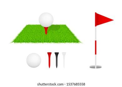 Golf club, golf flag, golf ball and green glass. Golf icon set. Vector illustration.