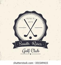 Golf club grunge vintage logo, emblem, with crossed golf clubs, vector illustration