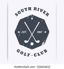 Golf Club grunge vintage octagon emblem, logo, vector illustration