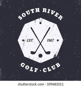 Golf Club grunge vintage octagon emblem, logo template, badge, vector illustration