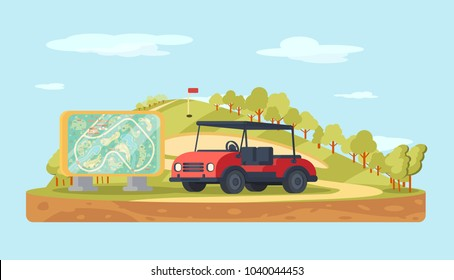 Golf club landscape with stand map and  cart. Sport background.
