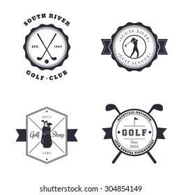 Golf Club, School, Shop, Tournament vintage emblems, logos, vector illustration, eps10, easy to edit