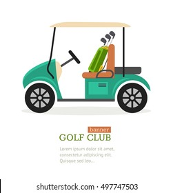 Golf Club Symbol Banner Flat Design Style. Vector illustration Golf Car Sport Game for golf club banners. Vector illustration of golfing icon Car