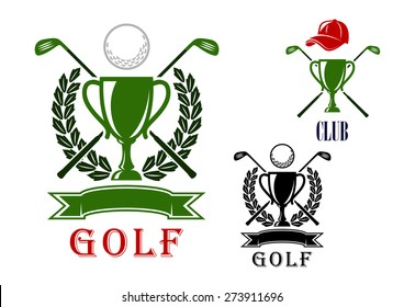 Golf club or tournament emblem and badges design templates with trophy cups, crossed clubs, balls, laurel wreath and blank ribbon banner and the second variant with peaked cap on the top