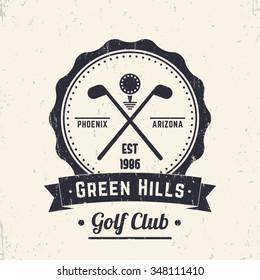 Golf club vintage logo, badge, grunge sign, crossed golf clubs and ball, vector illustration
