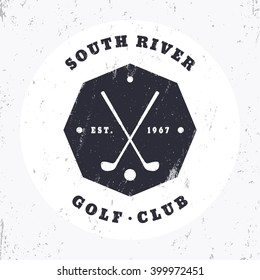 Golf club vintage octagon logo, badge with crossed golf clubs, vector illustration