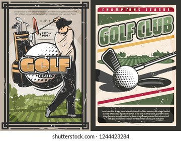 Golf club vintage posters, sport game with professional golfer. Vector sportsman with stick hits ball on green course, sport bag with clubs. Sporting competition or tournament announcement, vector
