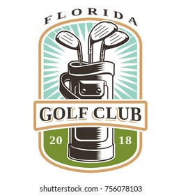 Golf clubs in bag vector logo on white backgound. Text is on the separate layer.